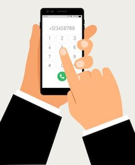 Mãos com discagem de smartphone. telefone móvel com tela de toque com teclado numérico e mão de negócios, ilustração vetorial de desenhos animados de conexão de discagem celular de empresário
