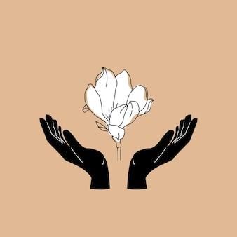 Mãos com estampa de flor de magnólia para massagem ou ioga