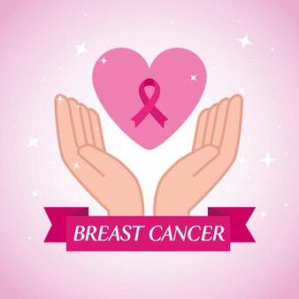 Mãos com fita rosa, símbolo da conscientização mundial sobre o câncer de mama