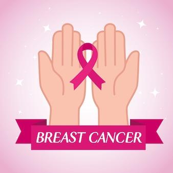 Mãos com fita rosa, símbolo do mês mundial de conscientização do câncer de mama em outubro