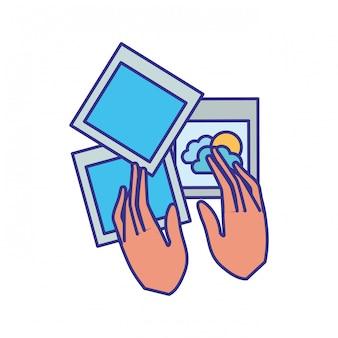 Mãos, com, fotografia, objetos, isolado, ícone