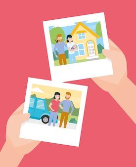 Mãos com fotos no dia da família