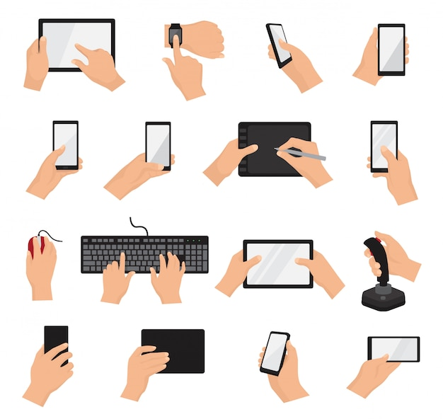 Mãos com gadgets vector mão segurando o telefone ou tablet conjunto de ilustração de caracteres trabalhando no dispositivo digital com touchscreen smartphone ou celular isolado no branco