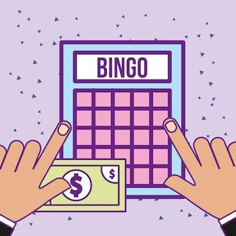 Mãos com jogo de bingo e bill money casino