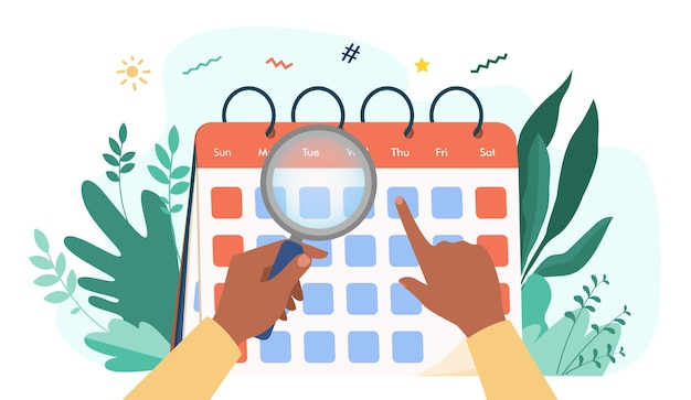Mãos com lupa, verificando o calendário. lupa, data, ilustração em vetor plana dia. tempo e planejamento