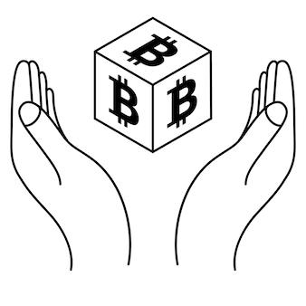 Mãos com moeda bitcoin em estilo isométrico crypto currency save concept logotipo da criptomoeda