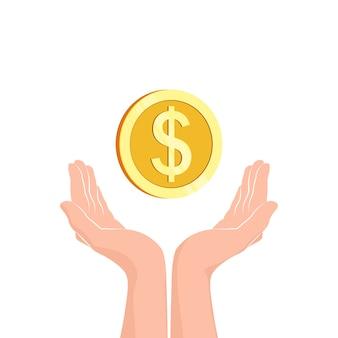 Mãos com moedas de dinheiro