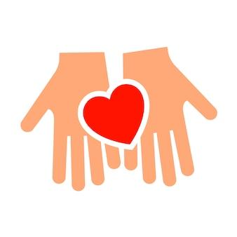 Mãos com novo ícone de coração, silhueta de dois tons