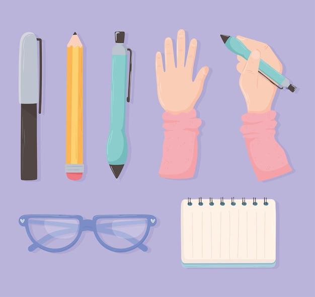 Mãos com óculos de caneta e lápis de papel e design de vista superior do escritório do espaço de trabalho
