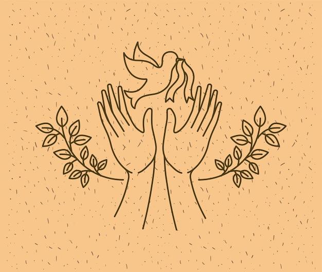 Mãos com paz mundial de pomba