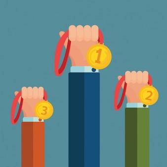 Mãos com projeto medalhas de fundo