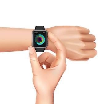 Mãos com relógio inteligente preto com esquema de cores na tela em branco realista