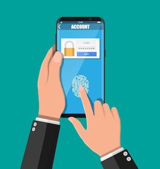 Mãos com smartphone desbloqueado por sensor de impressão digital. segurança do celular, acesso pessoal via dedo, formulário de login para gerenciamento de contas, autorização, proteção de rede. ilustração vetorial plana
