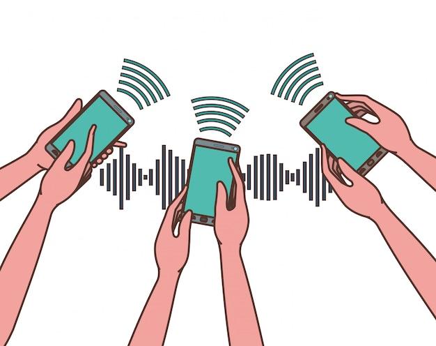 Mãos, com, smartphone, e, onda sonora
