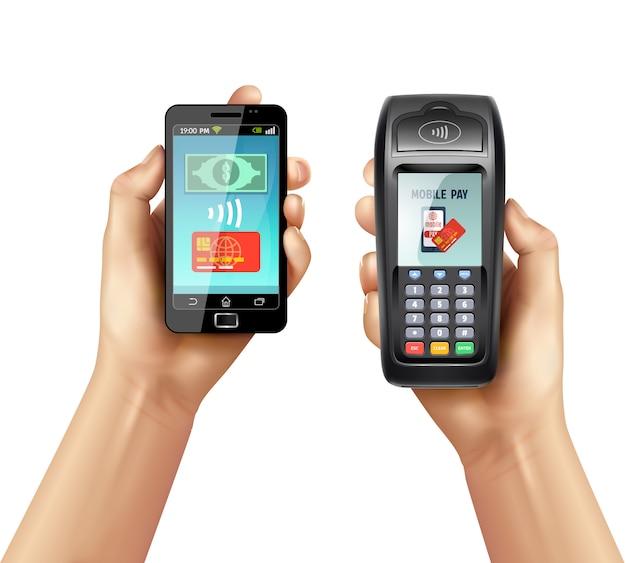 Mãos com smartphone e terminal de pagamento