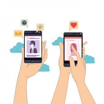 Mãos, com, smartphone, isolado, ícone