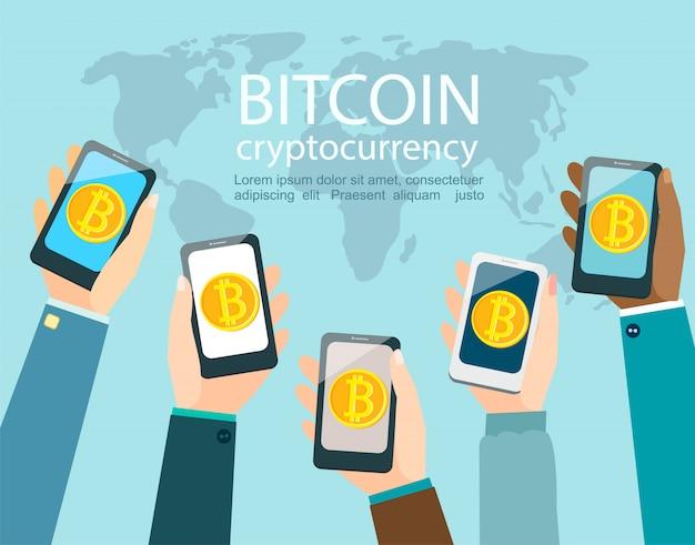 Mãos com smartphones com o símbolo de bitcoin.
