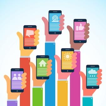Mãos com smartphones modernos em design plano. ilustração.