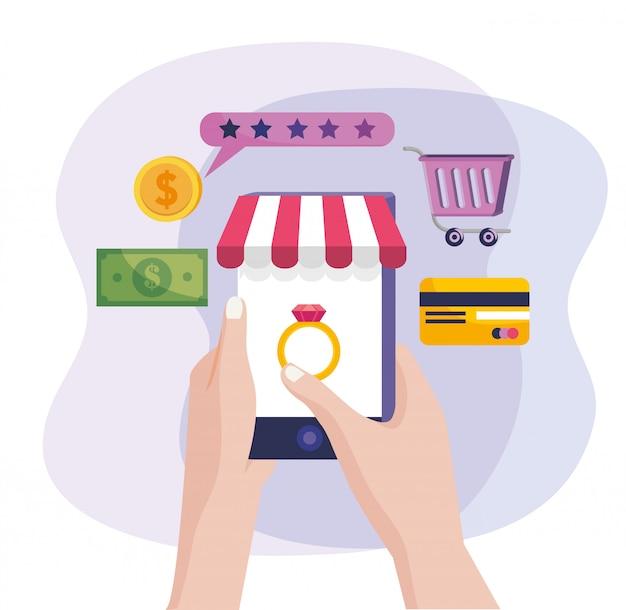 Mãos com tecnologia smartphone para compra e venda online