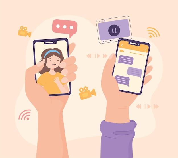 Mãos com telefones celulares