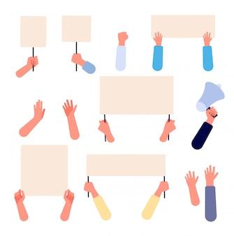 Mãos com um cartaz em branco. pessoas segurando faixas de protesto, cartazes vazios de manifestação de ativistas. conjunto de vetor plano isolado