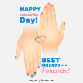 Mãos com unhas pintadas amizade fundo do dia