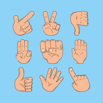 Mãos com vários gestos