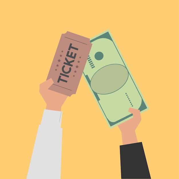 Mãos comprando ilustração de bilhetes de cinema