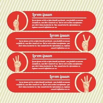 Mãos contando infográficos