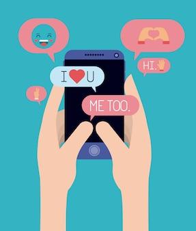 Mãos conversando com smartphone