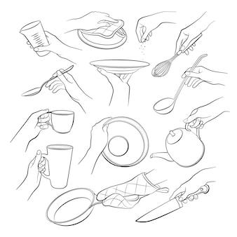 Mãos cozinhar conjunto isolado no fundo branco