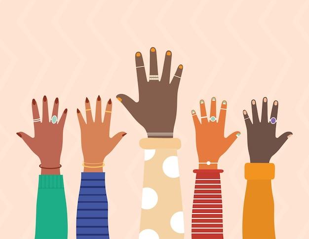 Mãos da diversidade com unhas coloridas em uma ilustração de fundo de cor salmão