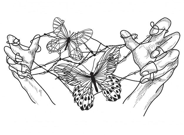 Mãos de arte de tatuagem com desenho de mão livre de borboleta