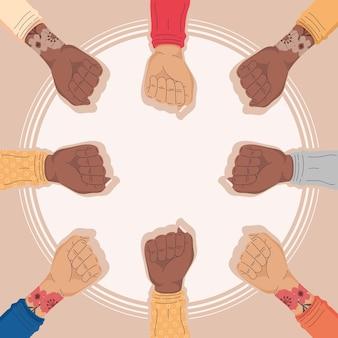 Mãos de ativistas inter-raciais
