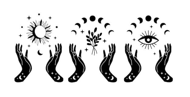 Mãos de bruxa com estrelas florais da fase da lua e mau-olhado