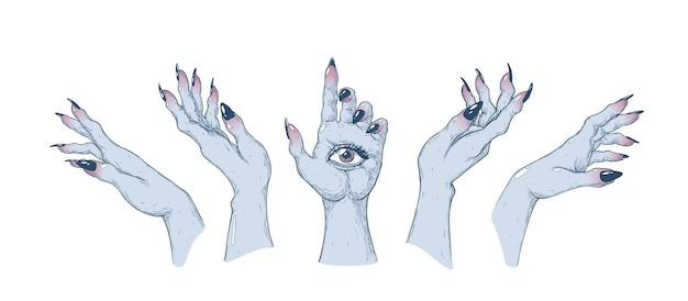 Mãos de bruxas em diferentes posições ilustração de arte vetorial feita à mão feito com caneta e tinta