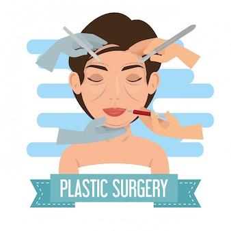 Mãos de cirurgião com processo de cirurgia plástica de mulher