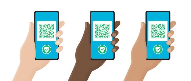 Mãos de coleção com smartphones digitalizando código qr isolado