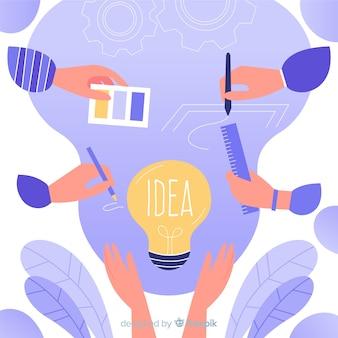 Mãos de conceito de trabalho em equipe de design gráfico