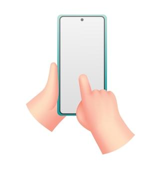 Mãos de desenho animado com o telefone. homem segurando o telefone com tela vazia. mock-se da comunicação da rede social no aplicativo móvel usando gestos de toque. dispositivo digital.