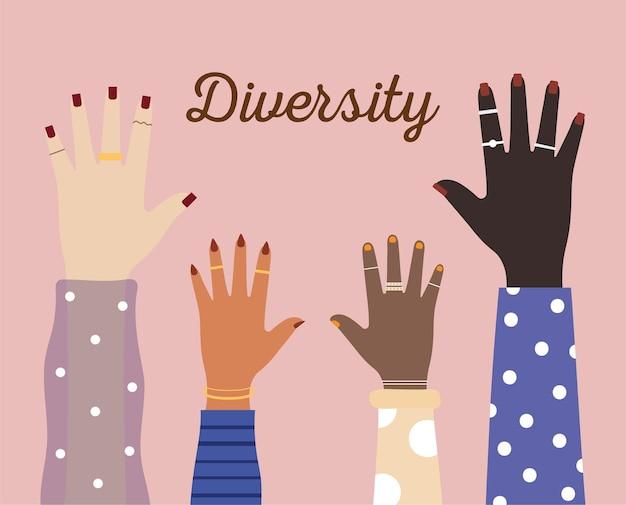 Mãos de diversidade com unhas coloridas em ilustração de fundo rosa