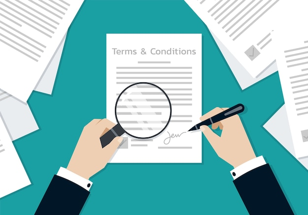 Mãos de empresário assinando o documento de formulário de termos e condições, conceito de negócio