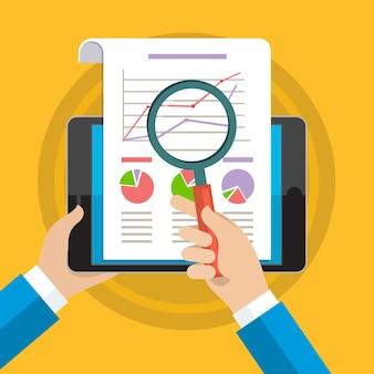 Mãos de empresário com gráfico financeiro e gráfico.