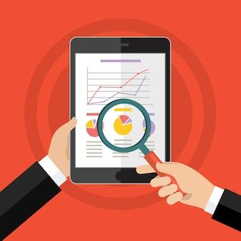 Mãos de empresário com quadro financeiro e gráfico
