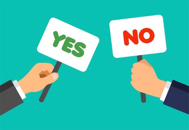 Mãos de empresário seguram placas com frases sim e não. conceito de votos. discordo, concordo, não gosto, gosto, feedback.