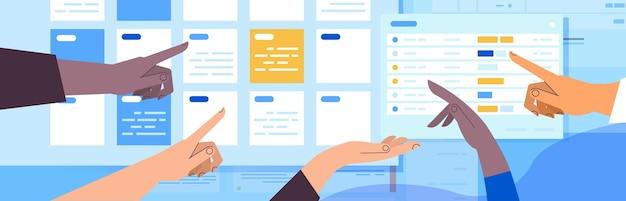 Mãos de empresários planejando o dia agendando compromissos no calendário on-line aplicativo agenda reunião plano conceito de gerenciamento de tempo ilustração vetorial horizontal