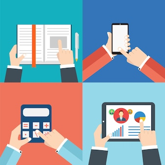 Mãos de escritório com: tablet ou tablet pc, calculadora, livro e smartphone