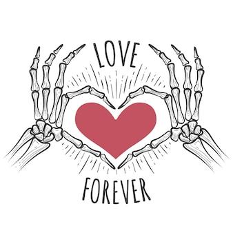 Mãos de esqueleto coração rosa