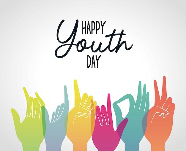 Mãos de gradientes multicoloridas de feliz dia da juventude, ilustração de tema jovem feriado e amizade