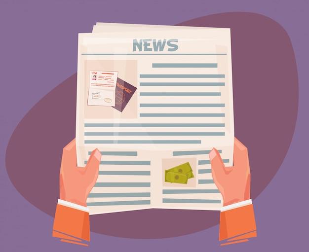 Mãos de homem de negócios com jornal com notícias
